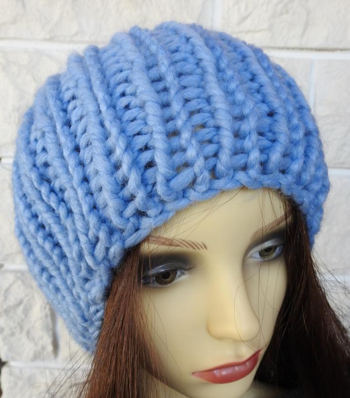 Knitted Blue Ribbed Womens Winter Hat With A Blue Pom Pom