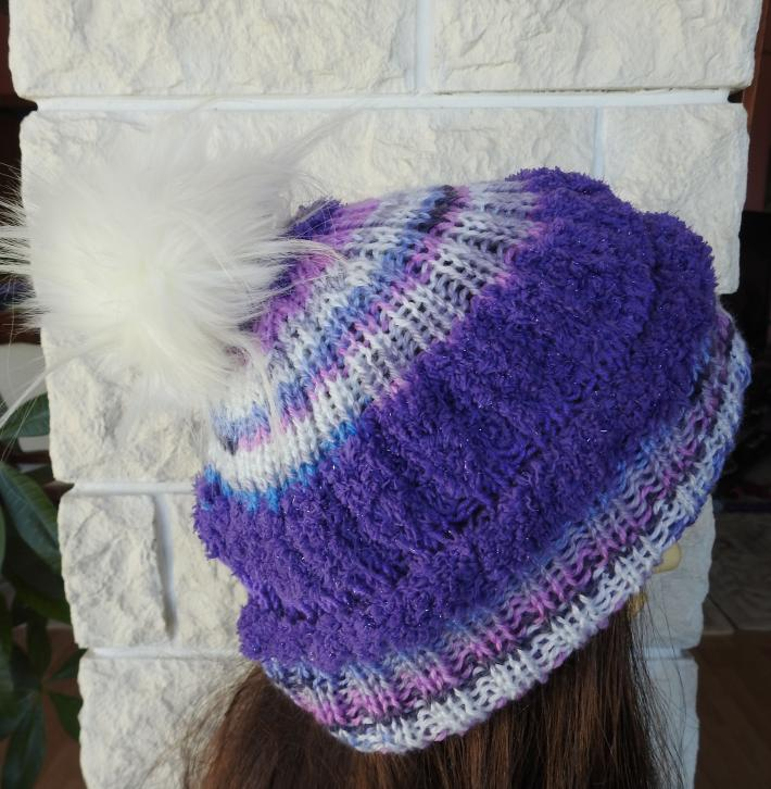 Knitted Purple Multicoloured Womens Winter Hat With A White Faux Fur Pom Pom FREE SHIPPING