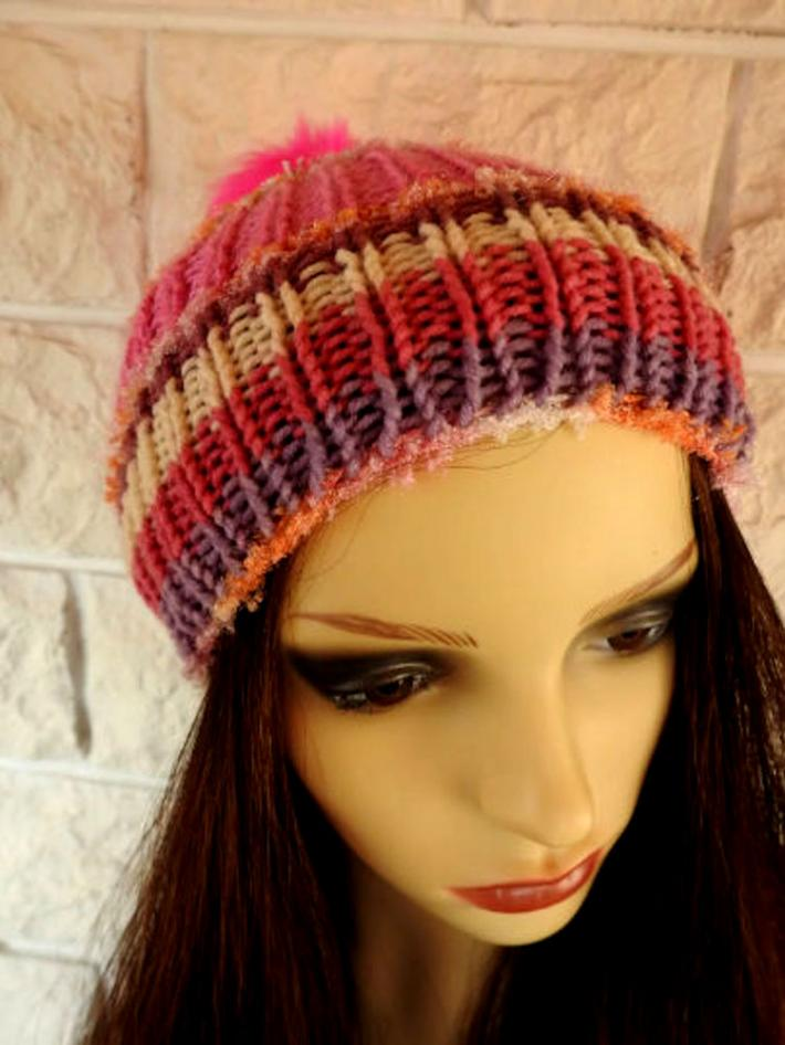 Knitted Pink Multicoloured Womens Winter Pom Pom Hat  FREE SHIPPING