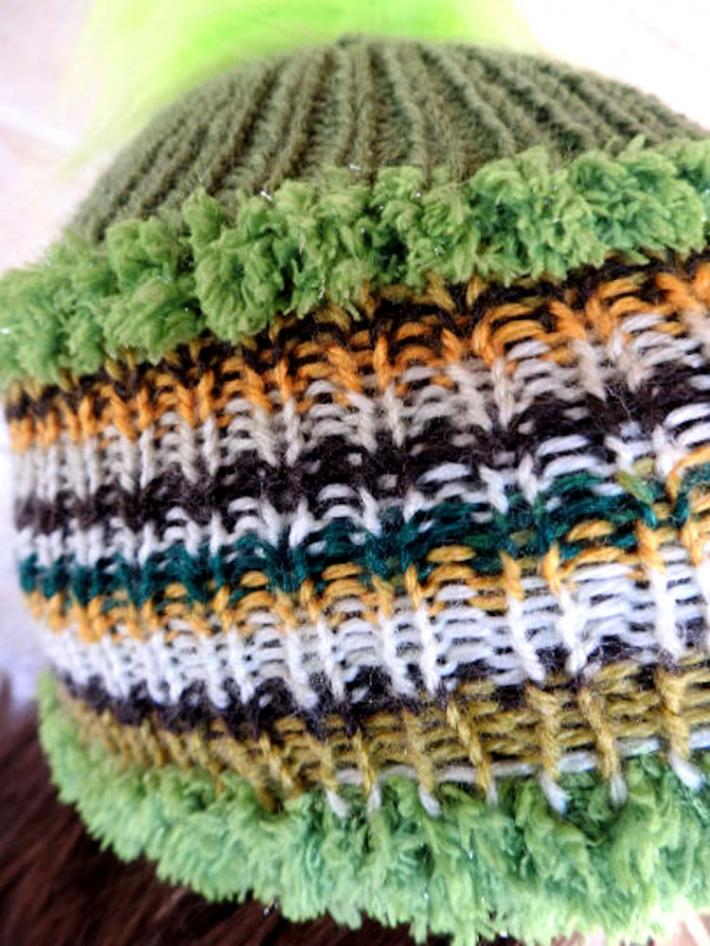 Knitted Womens Green Multicoloured Winter Pom Pom Hat  FREE SHIPPING