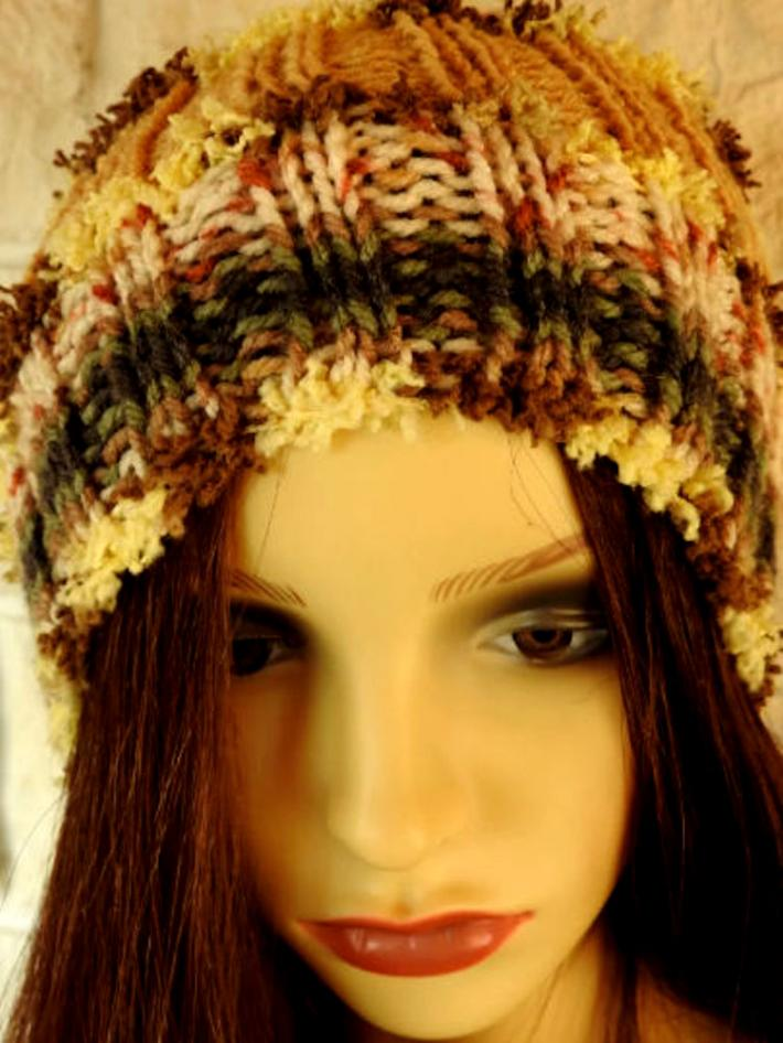 Knitted Womens Brown Multicoloured Winter Pom Pom Hat  FREE SHIPPING