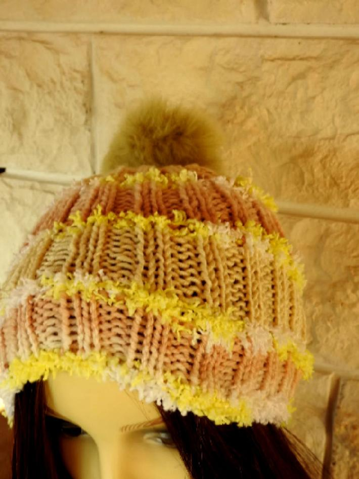 Knitted Womens Beige Multicoloured Winter Hat With A Brown Pom Pom  FREE SHIPPING