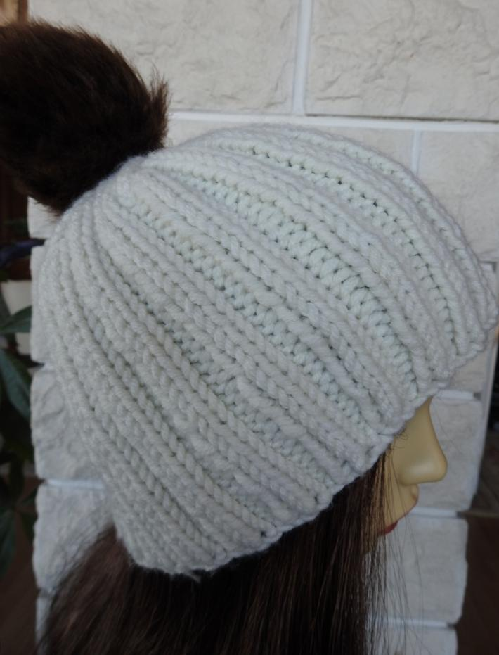 Knitted Womens Cream Winter Hat With A Brown Pom Pom  FREE SHIPPING