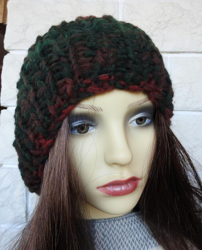 Knitted Womens Multicoloured Winter Ribbed Hat With Brown Pom Pom  FREE SHIPPING