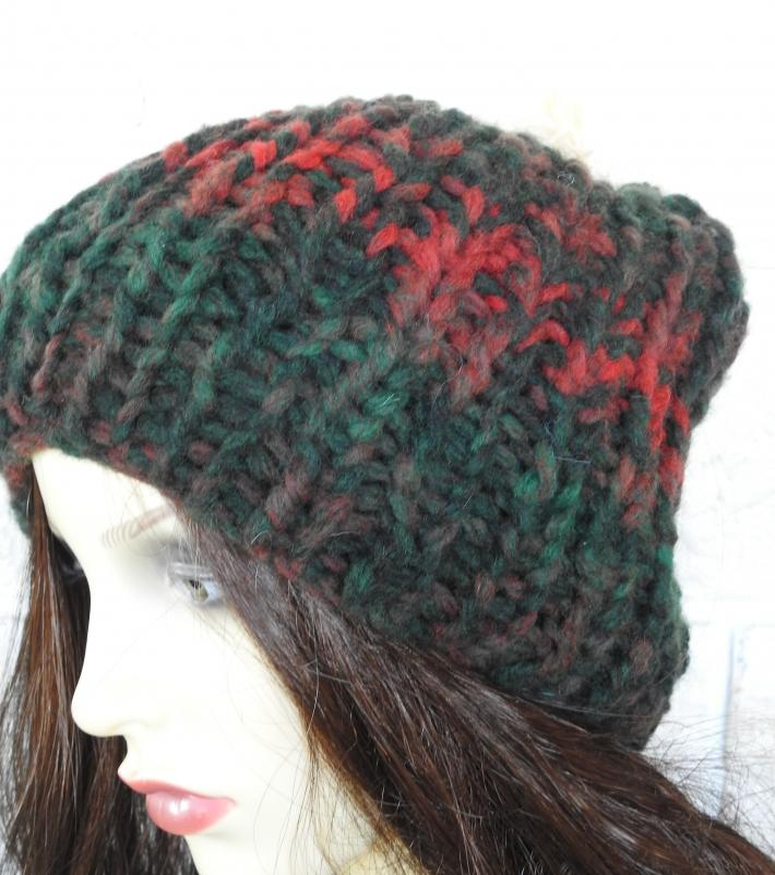Knitted Womens Dark Multicoloured Ribbed Winter Hat With Cream Faux Fur Pom Pom  FREE SHIPPING