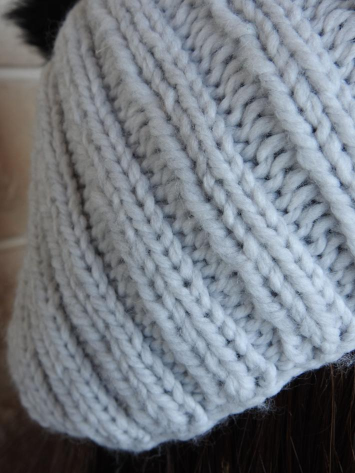 Knitted Womens Light Grey Ribbed Winter Hat With Black Pom Pom  FREE SHIPPING