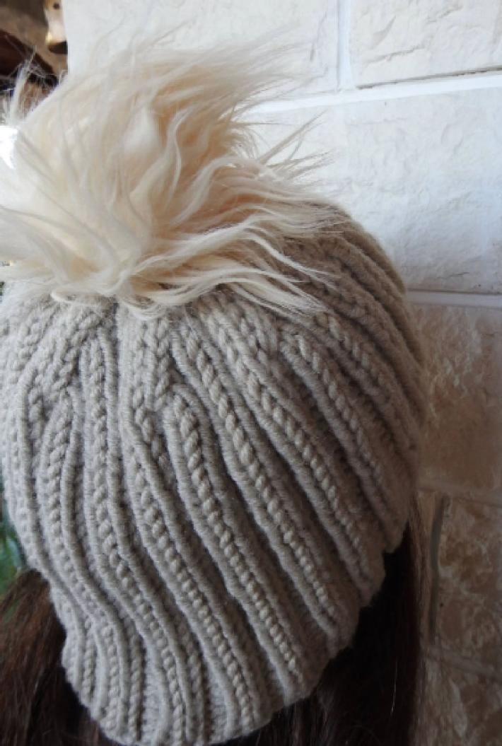 Knitted Womens Camel Coloured Ribbed Winter Hat With A Cream Faux Fur Pom Pom  FREE SHIPPING