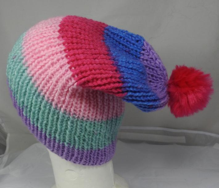 Hand Knitted Womens Striped Winter Hat With A Bright Pink Pom Pom  Free Shipping