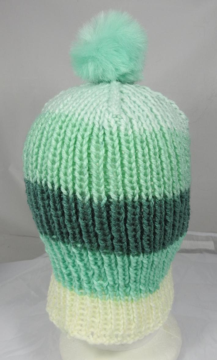 Hand Knitted Womens Striped Winter Hat With A Light Green Pom Pom  Free Shipping