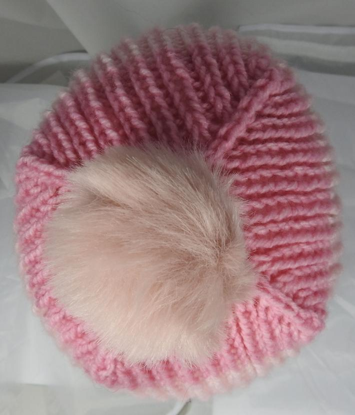 Hand Knitted Womens Striped Winter Hat With A Light Pink Pom Pom  Free Shipping