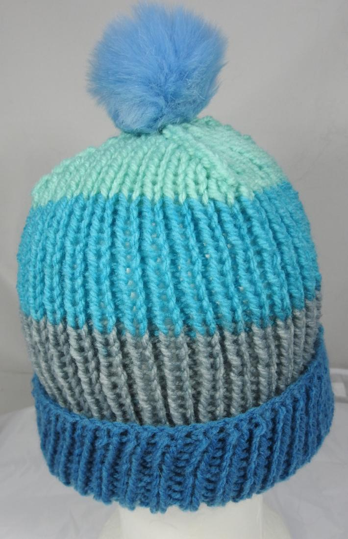 Hand Knitted Womens Striped Winter Hat With A Light Blue Pom Pom  Free Shipping