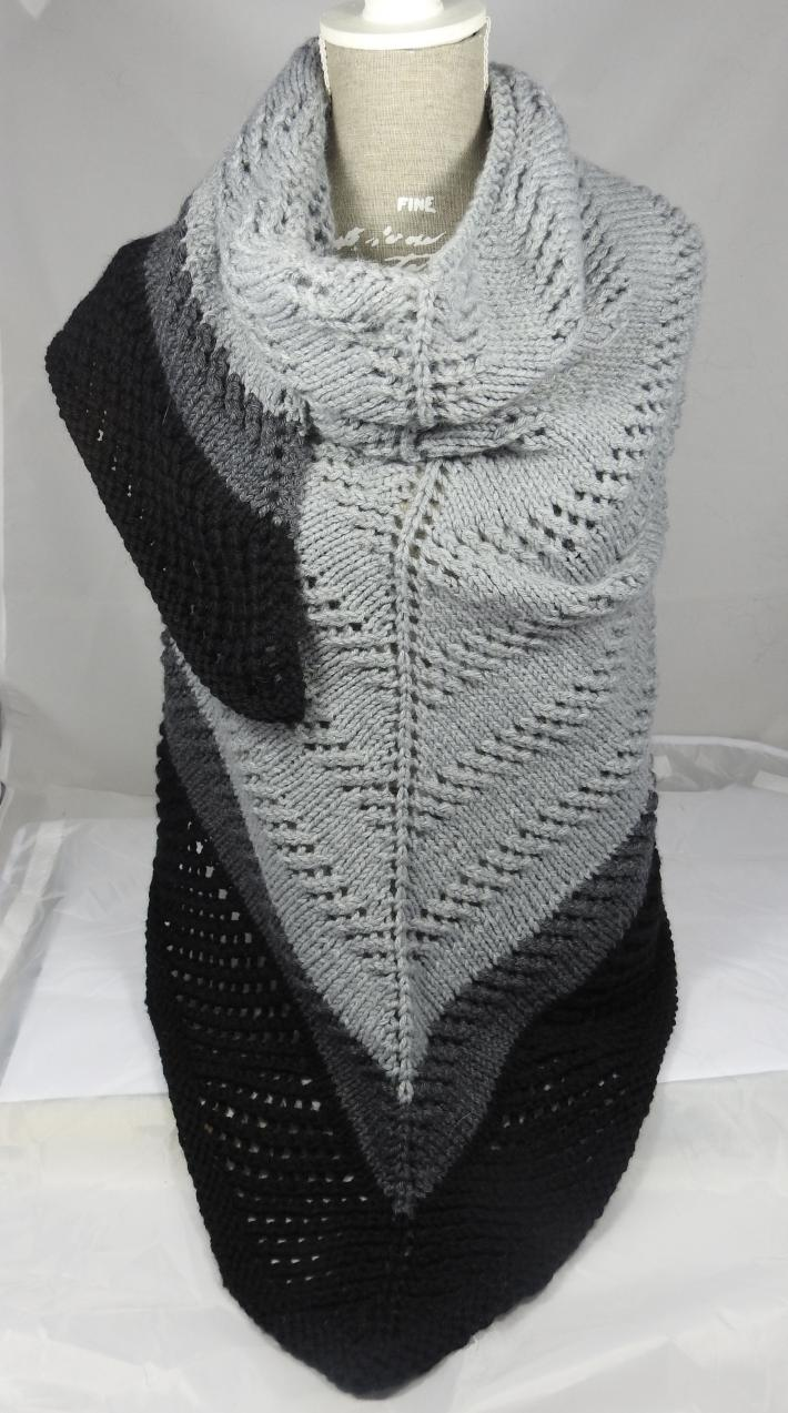 Knitted Women's Shades Of Grey And Black Striped Triangular Lace Effect Shawl  Free Shipping