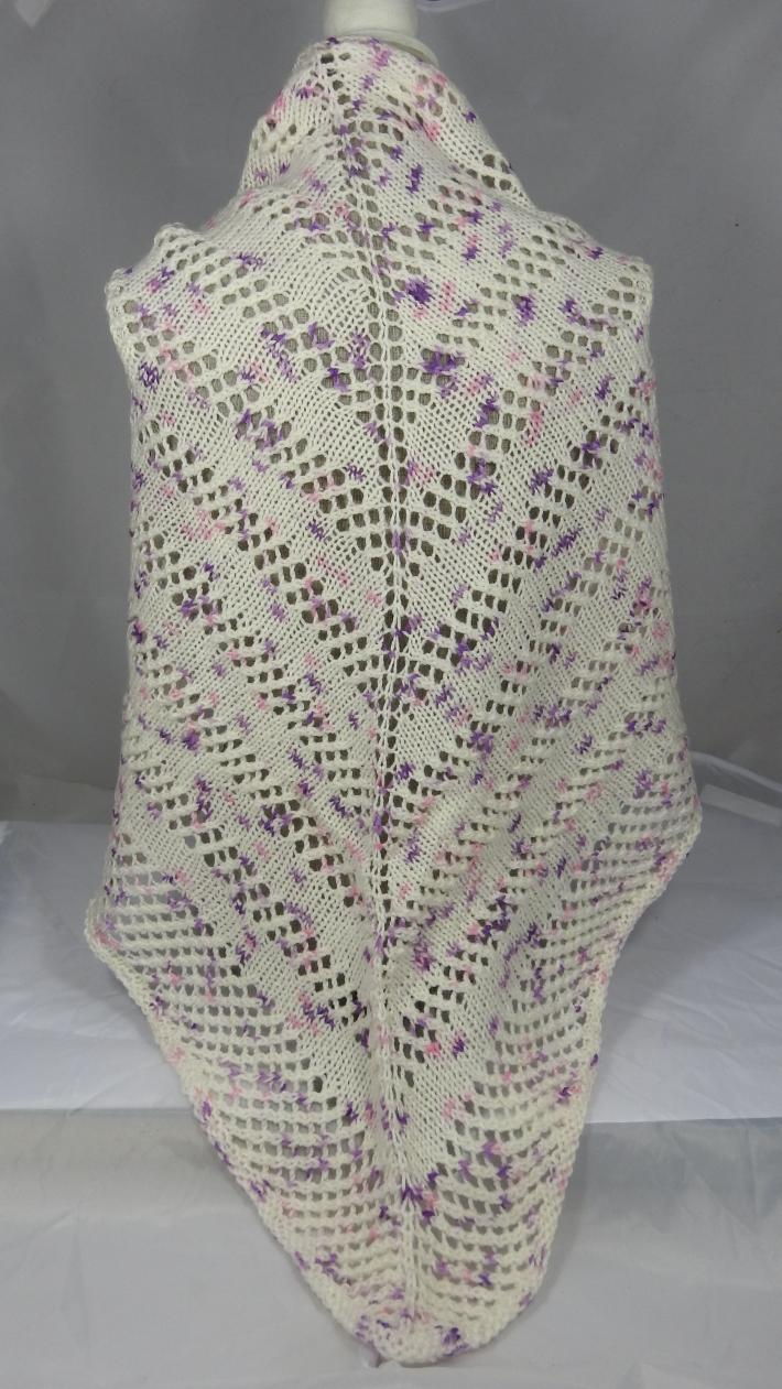 Knitted Women's Cream And Purple Flecked Triangular Lace Effect Shawl  Free Shipping