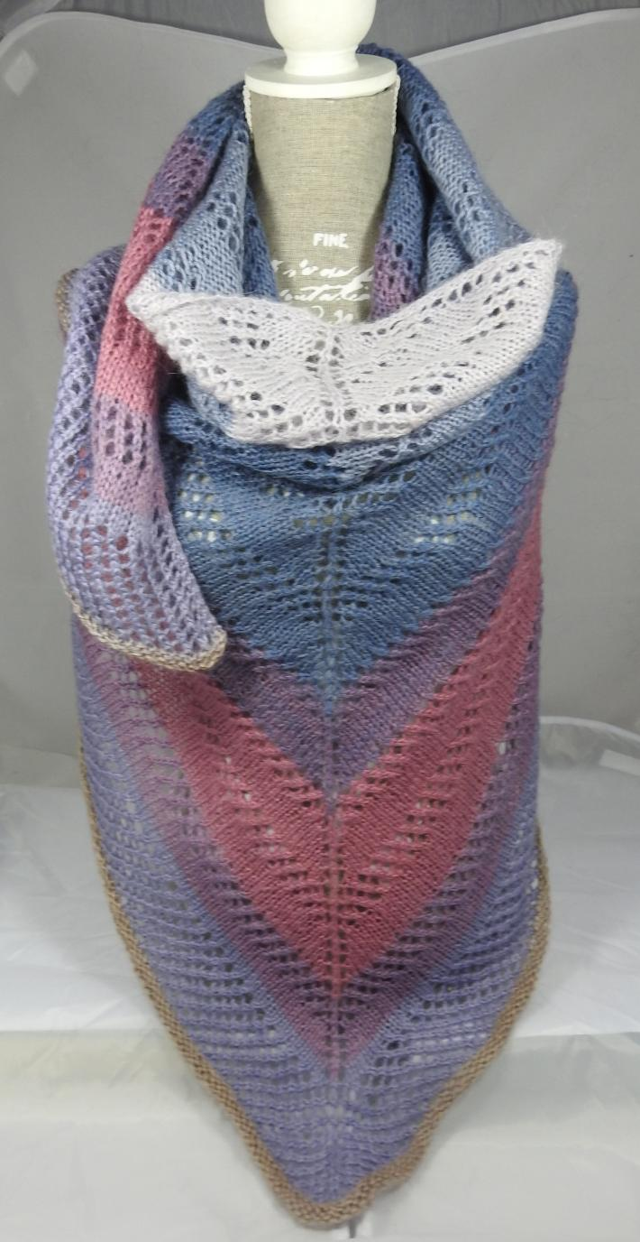 Knitted Womens Blue Pink And White Striped Triangular Lace Effect Shawl  Free Shipping
