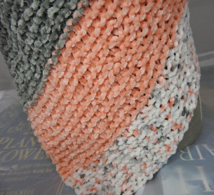 Knitted Womens Orange Grey And White Striped Triangular Shawl  Free Shipping