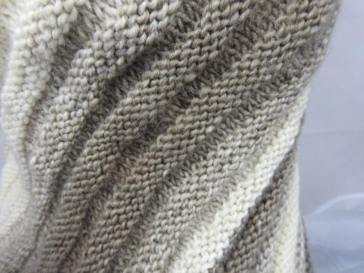 Knitted Womens Browns And Cream Striped Ribbed Triangular Shawl  Free Shipping