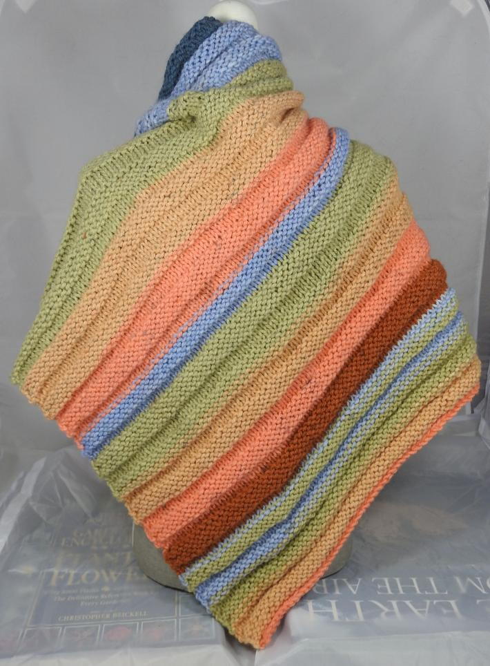 Knitted Womens Orange Green Blue And Brown Striped Ribbed Triangular Shawl  Free Shipping