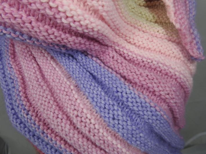 Knitted Womens Pink Blue Brown And Cream Striped Ribbed Triangular Shawl  Free Shipping