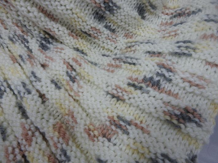 Knitted Womens Cream With Brown Grey And Yellow Flecks Ribbed Triangular Shawl  Free Shipping