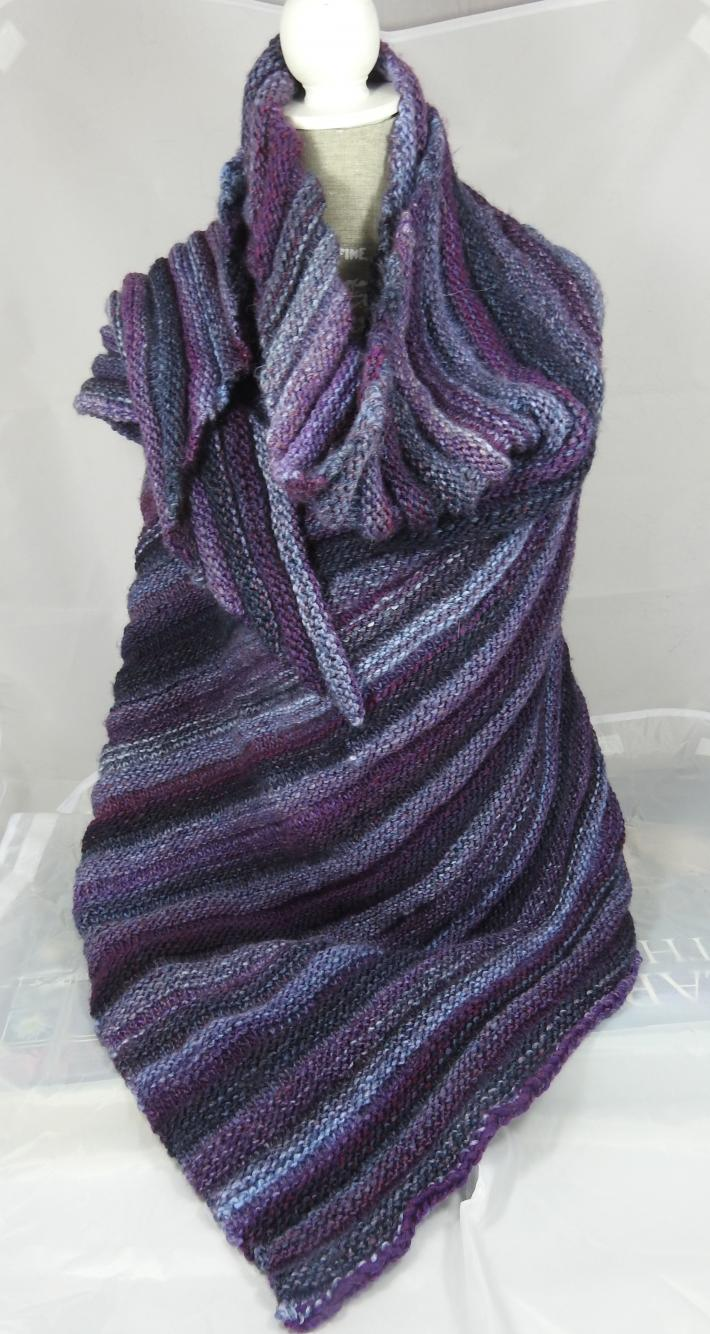 Knitted Womens Purple Blue And Grey Striped Ribbed Triangular Shawl  Free Shipping