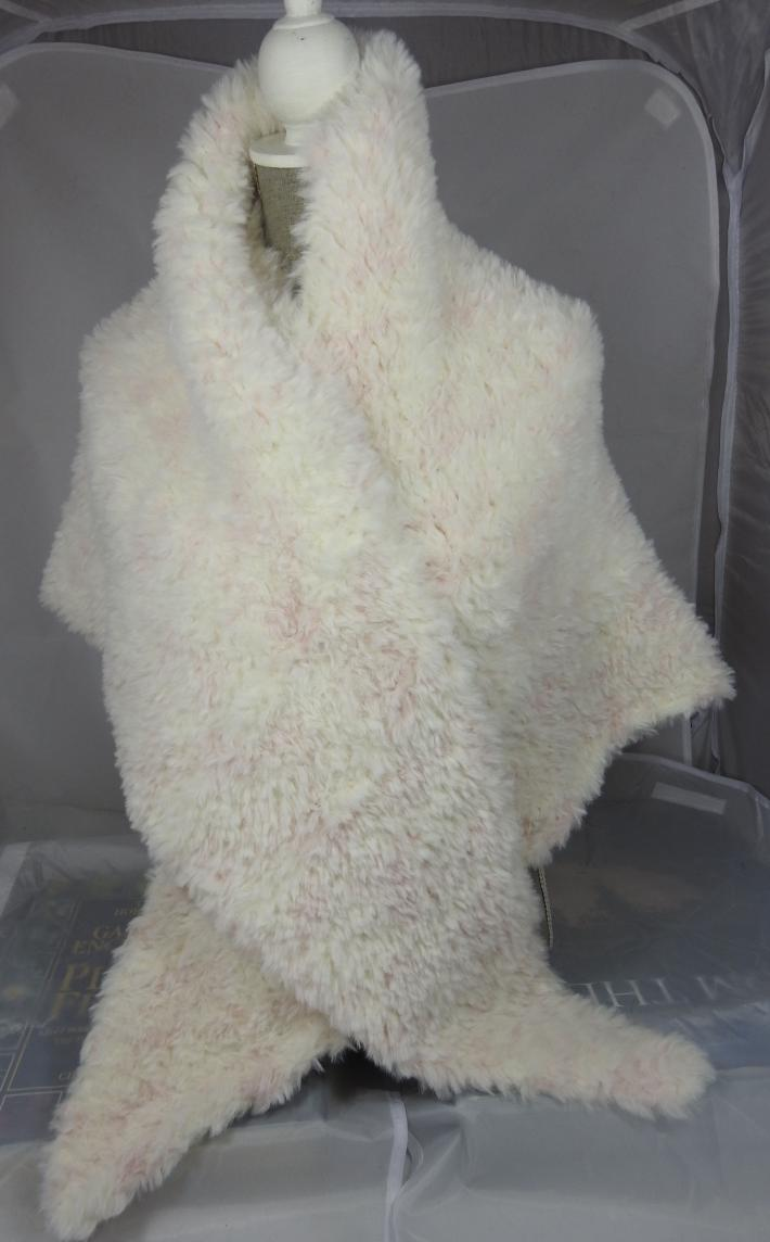 Knitted Womens Velour Cream With Pink Flecks Triangular Shawl  Free Shipping