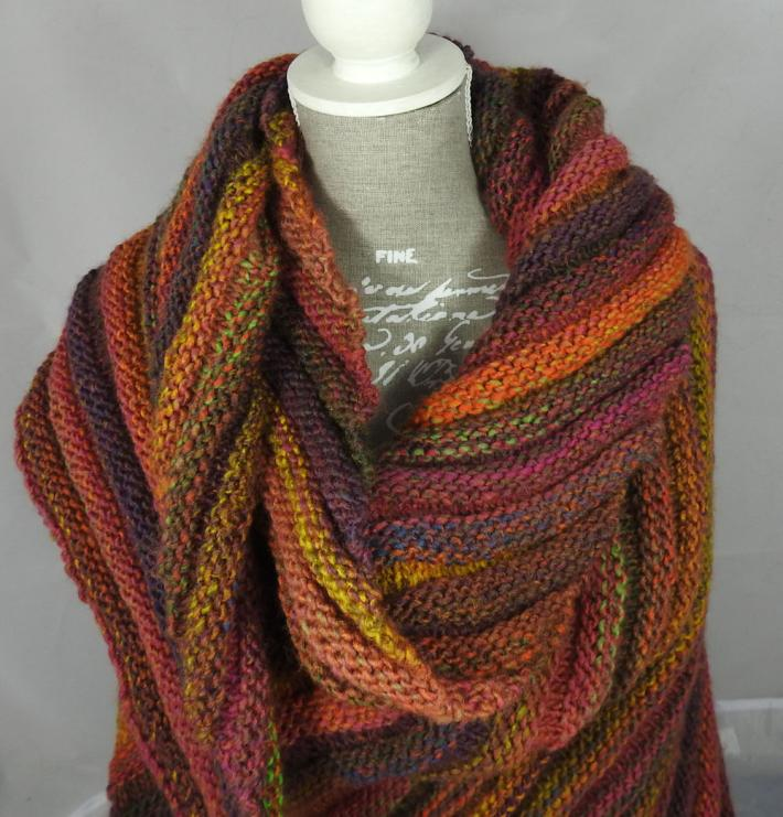 Knitted Womens Orange Green Purple And Pink Striped Ribbed Triangular Shawl  Free Shipping