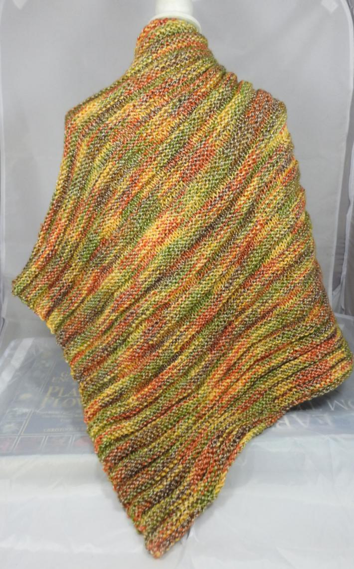 Knitted Womens Green Orange Brown And Yellow Random Ribbed Triangular Shawl  Free Shipping
