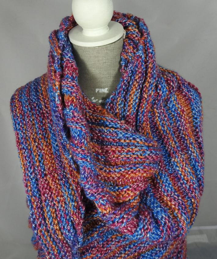 Knitted Womens Blue Pink Orange And Purple Random Ribbed Triangular Shawl  Free Shipping