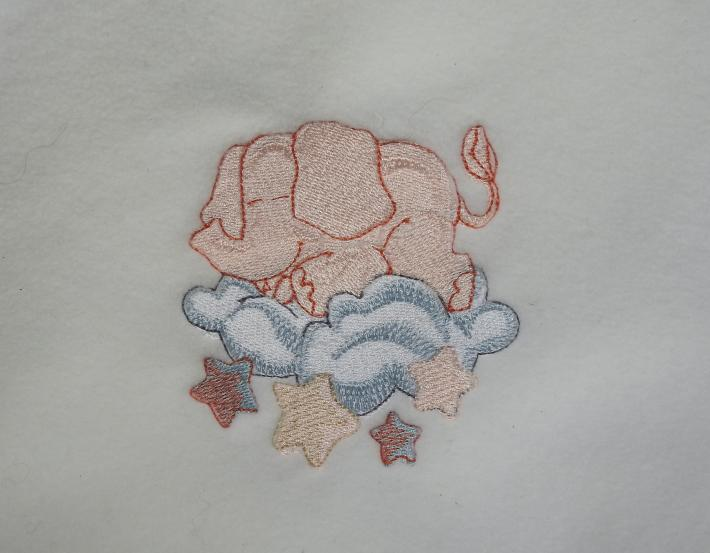White Fleece Baby Blanket With Embroidered Elephant  Free Shipping