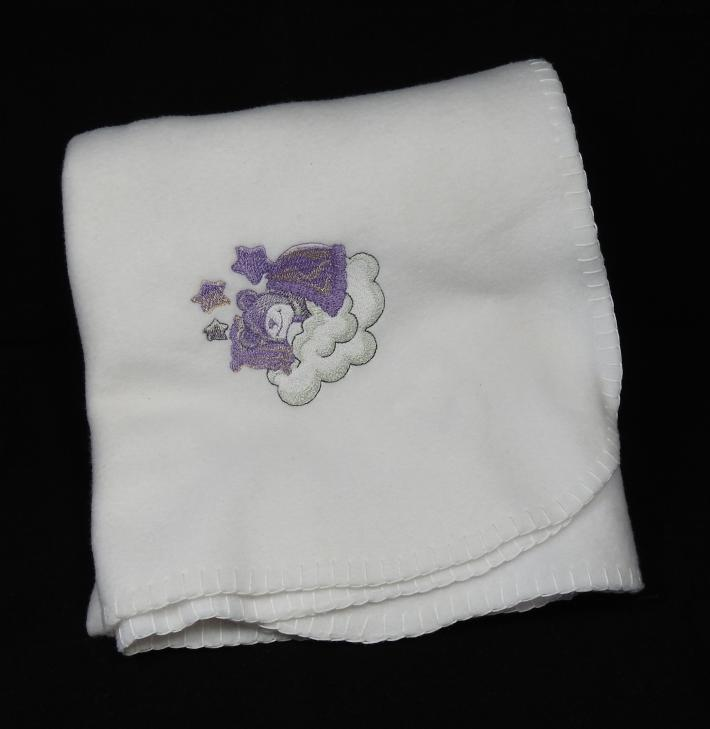 White Fleece Baby Blanket With Embroidered Teddy Bear  Free Shipping