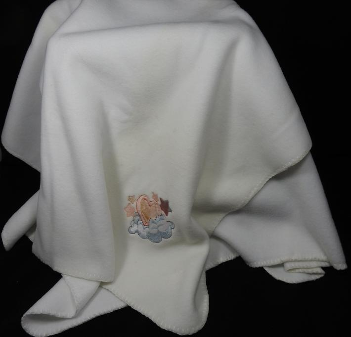 White Fleece Baby Blanket With Embroidered Heart  Free Shipping