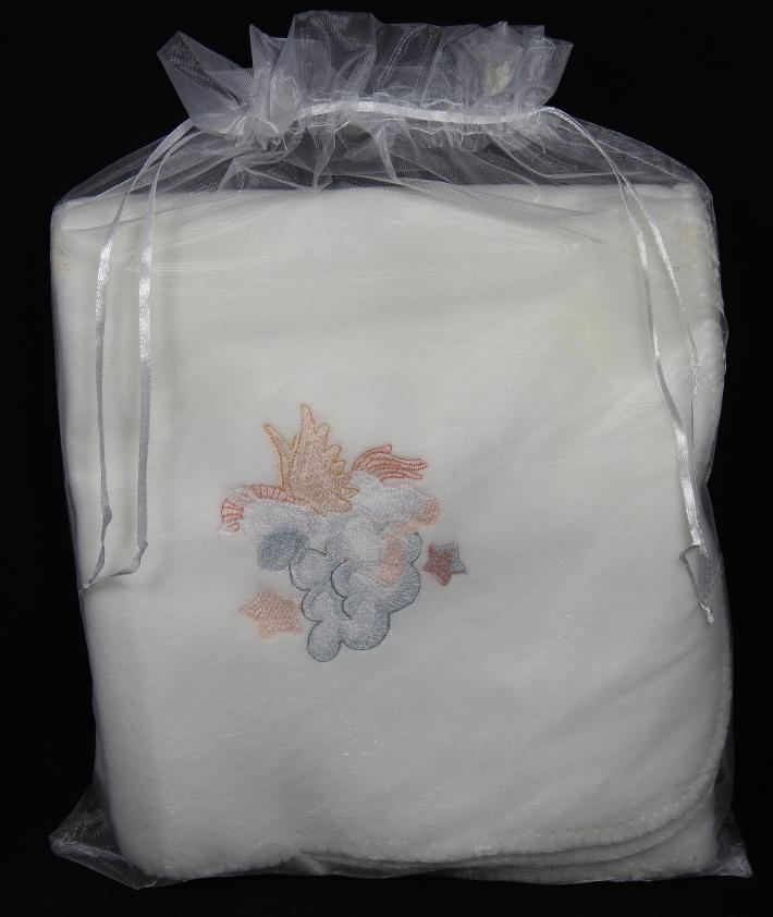 White Fleece Baby Blanket With Embroidered Flying Horse   Free Shipping