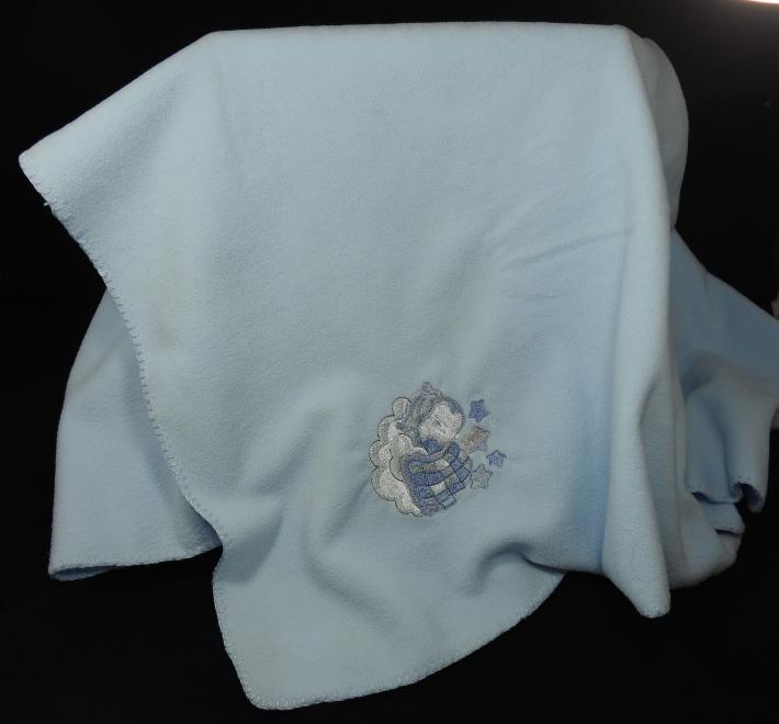 Blue Fleece Baby Blanket With Embroidered Baby Boy   Free Shipping