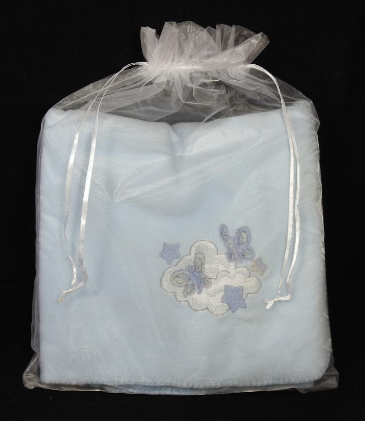Blue Fleece Baby Blanket With Embroidered Butterflies  Free Shipping