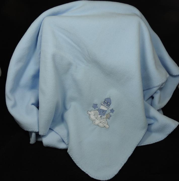 Blue Fleece Baby Blanket With Embroidered Lighthouse  Free Shipping
