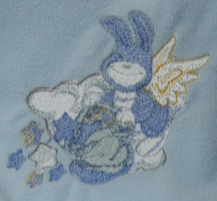 Blue Fleece Baby Blanket With Embroidered Flying Bunny Rabbit   Free Shipping
