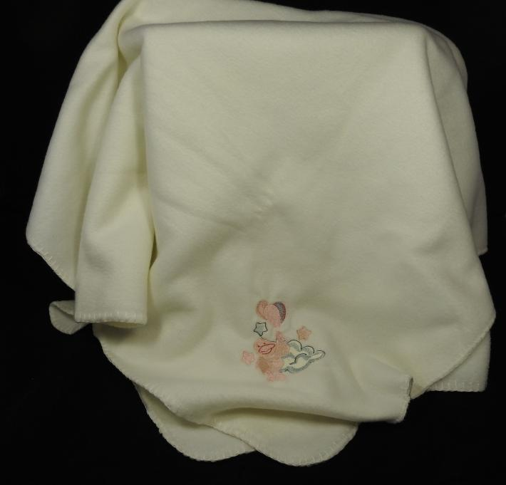 Cream Fleece Baby Blanket With Embroidered Duck And Balloons   Free Shipping