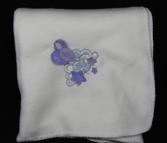 Cream Fleece Baby Blanket With Embroidered Balloons  Free Shipping