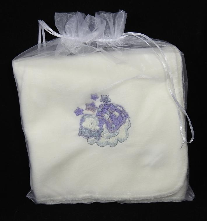 Cream Fleece Baby Blanket With Embroidered Baby Boy– Free Shipping