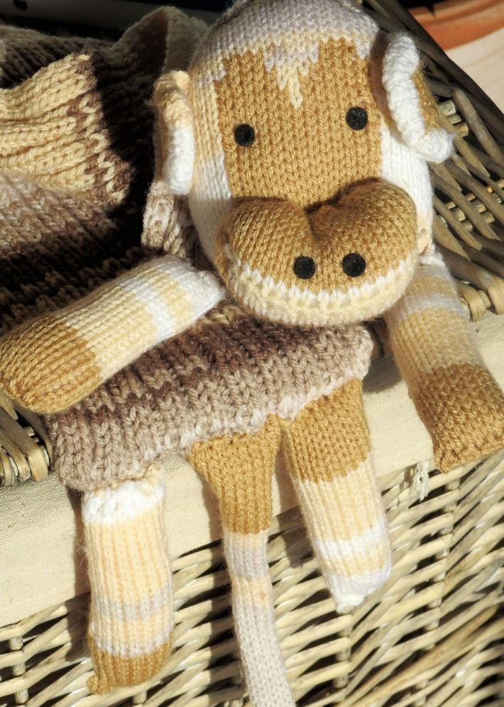 Hand Knitted Childs Brown Monkey Scarf   FREE SHIPPING