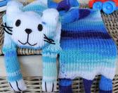 Hand Knitted Childs Blue Random Cat Scarf   FREE SHIPPING