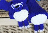 Hand Knitted Childs Bright Blue Lamb Scarf   FREE SHIPPING