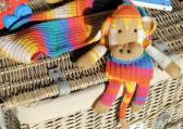 Hand Knitted Bright Multicoloured Childs Monkey Scarf   FREE SHIPPING