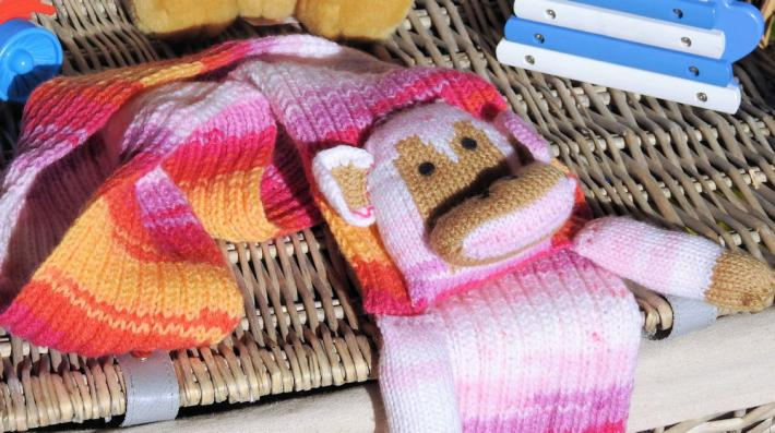 Hand Knitted Childrens Monkey Scarf   FREE SHIPPING