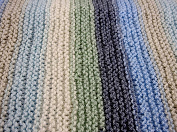 Hand Knitted Random Coloured Baby Blanket   FREE SHIPPING