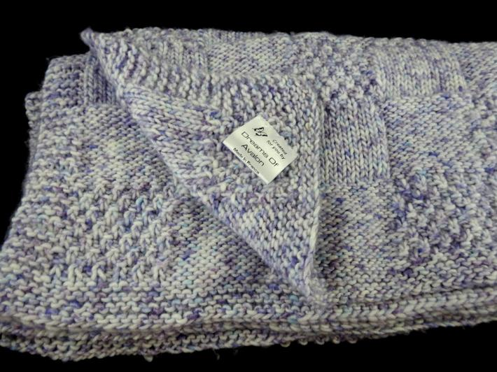 Hand Knitted Thick Purple Random Patterned Baby Blanket   FREE SHIPPING