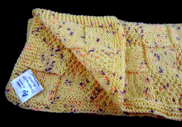 Hand Knitted Yellow Random Coloured Patterned Baby Blanket   FREE SHIPPING