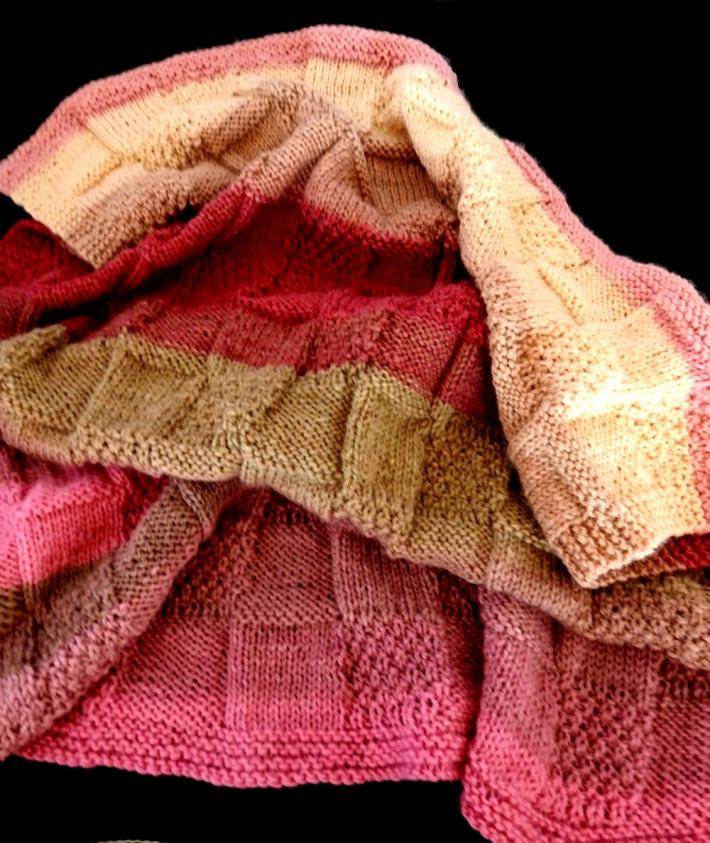 Hand Knitted Soft Patterned Baby Blanket In Pinks And Browns   FREE SHIPPING