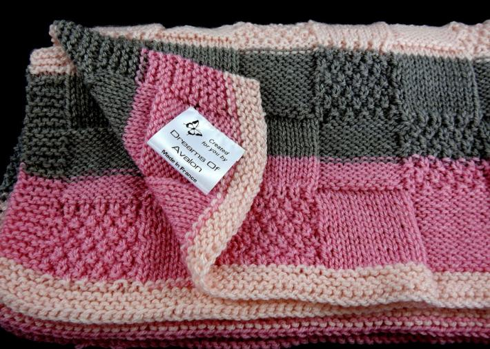 Hand Knitted Soft Patterned Baby Blanket In Various Shades Of Pink And Grey   FREE SHIPPING