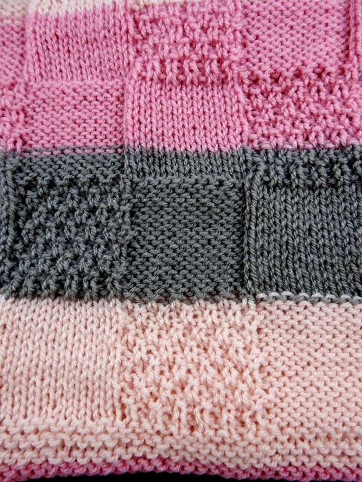 Hand Knitted Soft Striped Patterned Baby Blanket In Greys And Pinks   FREE SHIPPING